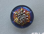CZECH GLASS BUTTON: 18mm Star Flower Handpainted Czech Button, Pendant, Cabochon (1)