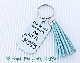 Hand Stamped Grad Gift- Graduation Key Chain- 2017 Grad- Gift For Grad-