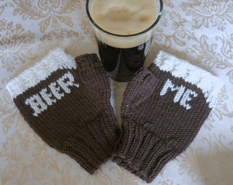 The Beer Me Fingerless Gloves, Porter and Stout Style, Beer Lovers Gloves, Homebrewers Gifts, Craft Beer Lovers, Mens Gloves, Womens Gloves
