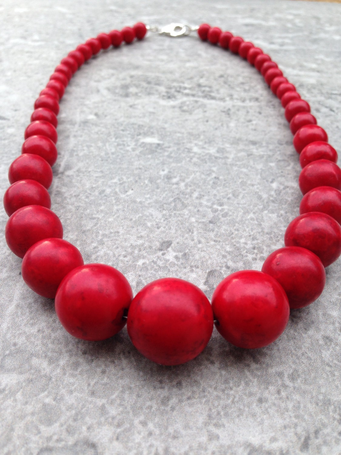 James Red Necklace Red Chunky Necklace Patriotic Necklace