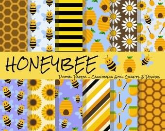 Honeybee Digital Paper - Instant Digital Download - Bees, Sunflowers, Daisies, Stripes, Honey, Bee Hives, Honeycombs