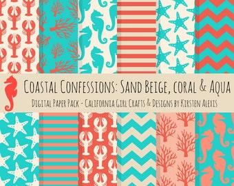 Coastal Confessions Digital Paper - Instant Download - Seahorses, Coral, Starfish, Lobsters, Chevron, Stripes, Coral Red, Aqua & Sand Beige