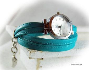 Damen Wickelarmbanduhr Wickeluhr Nappa Leder türkis - Armbanduhr Nappa - Sommer - für Sie - Lagenlook - Maßanfertigung