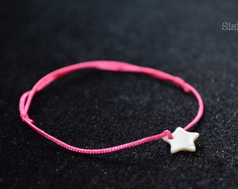 Cord Bracelet pearly silk star
