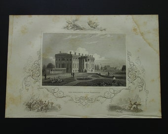 View of the White House Washington - 1851 antique engraving - picture panorama - old look USA president history print -  18x27c 7x11""