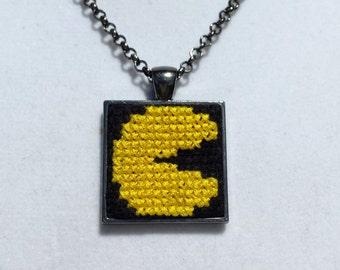 Miniature Cross Stitch Pacman-Inspired Pendant Necklace