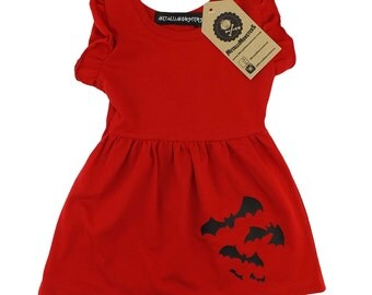 Red bats baby dress