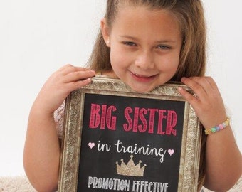 Big Brother OR Big Sister in Training We're Expecting Chalkboard Printable - baby/ pregnancy announcement 8x10 or 11x14