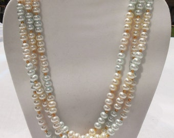 Pink and Blue Pearl Necklace - Vintage Costume Jewelry - Faux Pearl Necklace - Multi-Strand Pearls - Multi-Strand Necklace - Clearance Sale