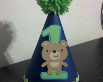 teddy bear First 1st birthday or any age party hat party supplies