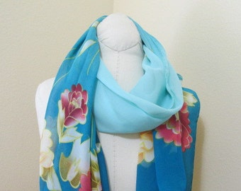 Painted Silk Scarf, love gift