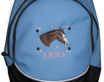 FREE SHIPPING - Quarter Horse  Personalized Monogrammed Backpack Book Bag school tote  - NEW