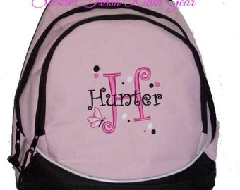 FREE SHIPPING - Personalized Butterfly Monogrammed Backpack Book Bag school tote  - NEW