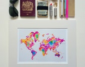 WORLD MAP / The world just got a little smaller / signed & mounted print
