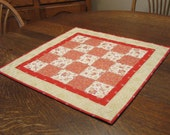 Quilted Table Mat, quilted table topper, country table mat, table mat, candle mat, table topper, red table topper, red quilted table topper