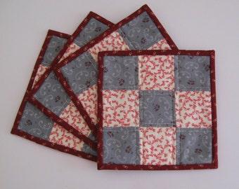 Quilted Mug Rugs, mug rugs, mug rug set, quilted coasters, coaster set, fabric coasters, country coaster set, table coasters