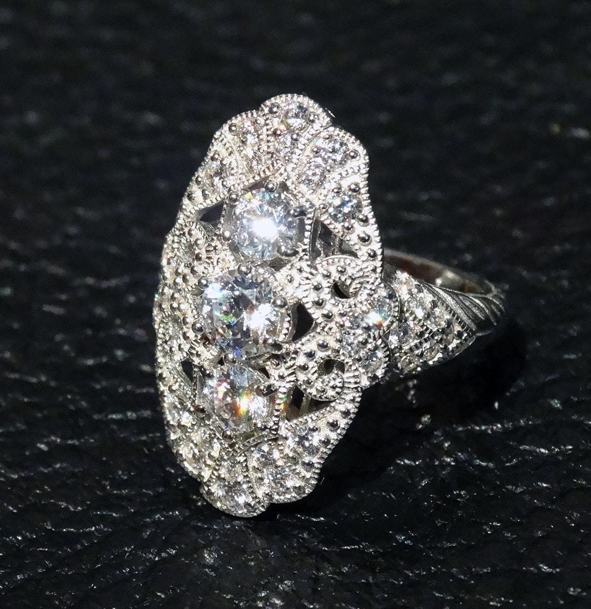 vintage ring replica cz sterling by elegantartifacts