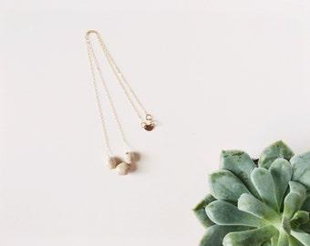 Handmade Ceramic Necklace - Gold Ceramic Necklace - Taupe Ceramic Jewelry - Bridesmaid Gifts