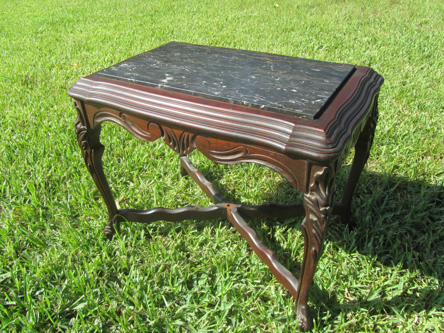 Antique Marble Top Side Table Nightstand Vintage Side