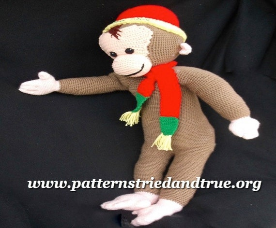 Monkey Crochet Pattern, Curious George, easy to follow to make kids their favorite monkey, Classic children's toy in heirloom quality