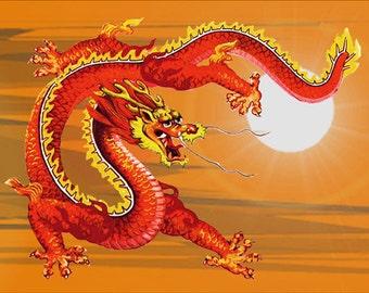 Chinese Sky Dragon,  Fridge Magnet 7cm by 4.5cm,