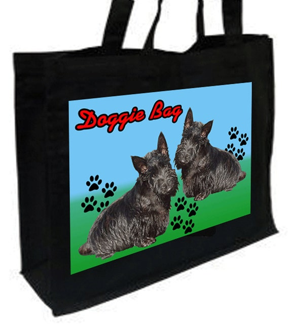 Scoitish Terrier Doggie Bag Cotton Shopping Bag with gusset and long handles, 3 colour options