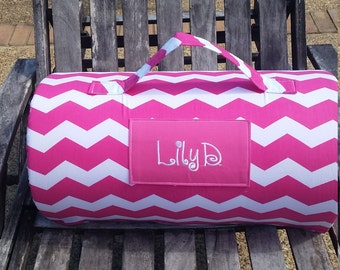 1 or 1 1/2 inch foam.Chevron Personalized day care/ kindergarten nap mat