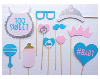 Gender Reveal Baby Shower Photo Booth Prop Set - Gender Neutral Baby Shower - Pink and Blue Decorations - Baby Shower Photo Booth
