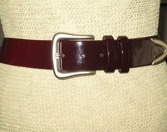 Stunning Canadian Designer Suzi Roher Wide Belt , 2 tone Dark Burgundy Patent , Size Medium Plus