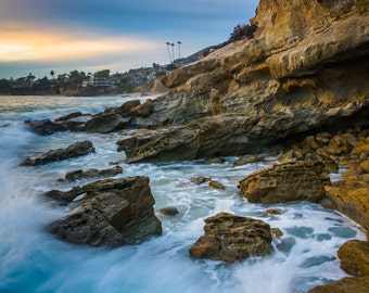 Rocks and waves in the Pacific Ocean, Monument Point, Heisler Park, Laguna Beach, California - Photography Fine Art Print or Wrapped Canvas