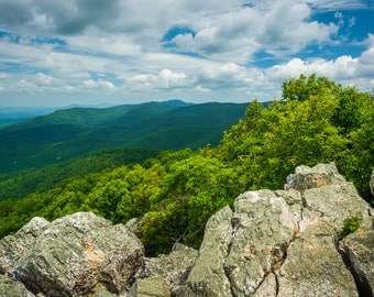 View of Blue Ridge Mountains from Turk Mountain, Shenandoah National Park, Virginia - Landscape Photography Fine Art Print or Wrapped Canvas