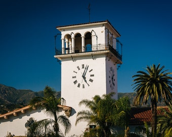 The clock tower at the Santa Barbara County Courthouse, in Santa Barbara, California - Photography Fine Art Print or Wrapped Canvas