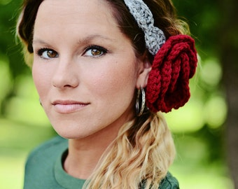 Crochet Scallop Headband with Rosette