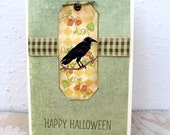 Halloween Card - Happy Halloween Card - Pumpkin - Black Crow - Seasonal Autumn Images - Blank Card - Cottage Chic Style - Gingham Ribbon