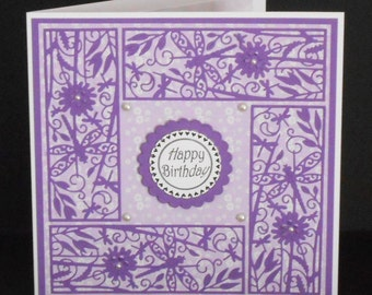 Lilac Floral Panels 8 x 8 card