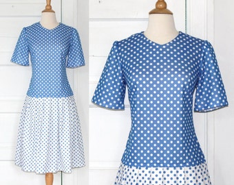 peggy polka dot dress / 1960s blue & white color block house dress / 60s pleated polkadot mod mad men / secretary skirt / l large xl 1x