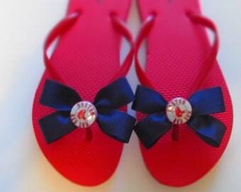 Womans Boston Red Sox flip flops, Baseball flip flops, red flip flops