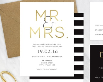 Black, Gold and White Wedding Invitation - DEPOSIT