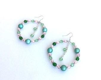 Hoop earrings, pink and green crystals, dangle center
