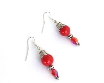 Cherry red stone earrings with irridescent crystals