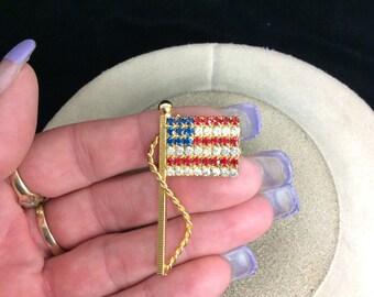 Vintage Red White Blue Rhinestone American Flag Pin