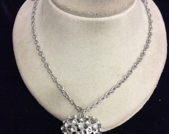 Vintage Rhinestone Puffy Heart Pendant Necklace