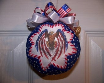 4th of July Quilted Ornament/red,white and blue/Patriotic