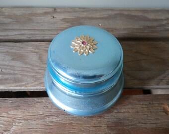 Vintage Powder Box Music Box Rhinestone