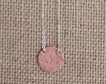 Hammered Jewelry, Textured Copper Disc Necklace, Copper Textured Necklace, Hammered Disc Necklace, Copper Hammered Necklace