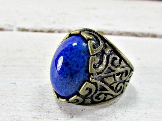 vintage blue lapis ring unique cool mens ring by