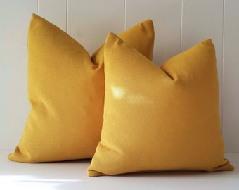 20x20 Mustard Yellow Sunbrella Outdoor Throw Pillow Cover