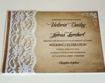 "Lace invitation, ""Victoria"" white lace wedding invitation"