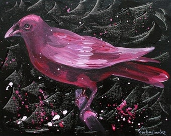Crow, Original acrylicr painting,,Crow lover art, Crow wall art, raven
