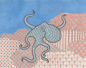 Cayman Octopus Zentangle Drawing, 8x10 print
